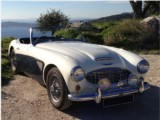 Classic Car rental Austin Healey 100/6 - Hire classic luxury convertible car with driver authentic vintage experience in Antibes Beaulieu sur Mer Cagnes sur Mer Cannes Juan Les Pins Eze sur Mer South of France